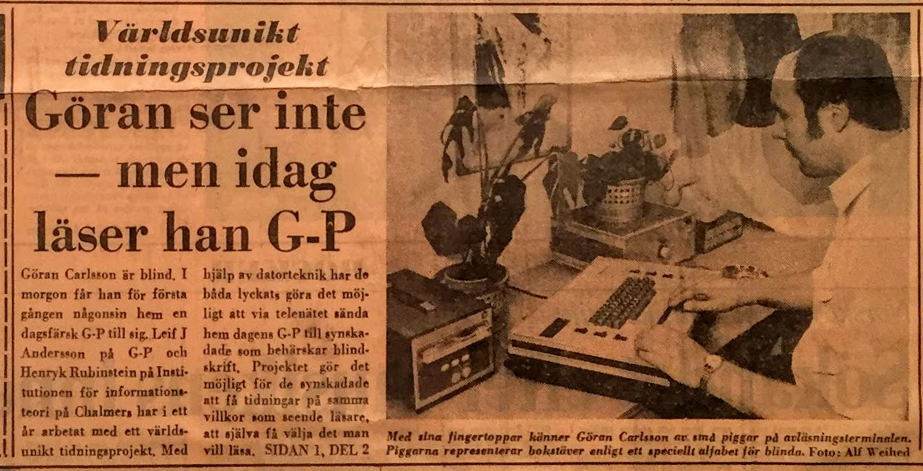 Faksimile from Göteborgs-Posten june 1979 - Goran is blind, now he´s reading the newspaper
